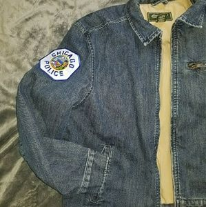 eddie bauer jackets coats denim chicago police jacket poshmark eddie bauer denim chicago police jacket